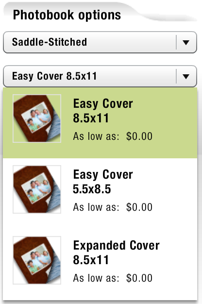 Booklet sizes.